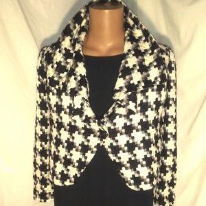 B/W Speigel Vintage Houndstooth Crop Jacket Sz 6